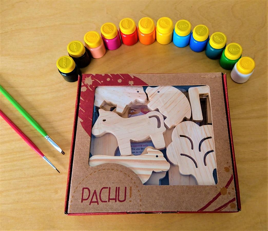 Brinquedo de madeira Kit Animais da Fazenda + Kit Pintura, da Pachu e Acrilex - Cód. P-13A