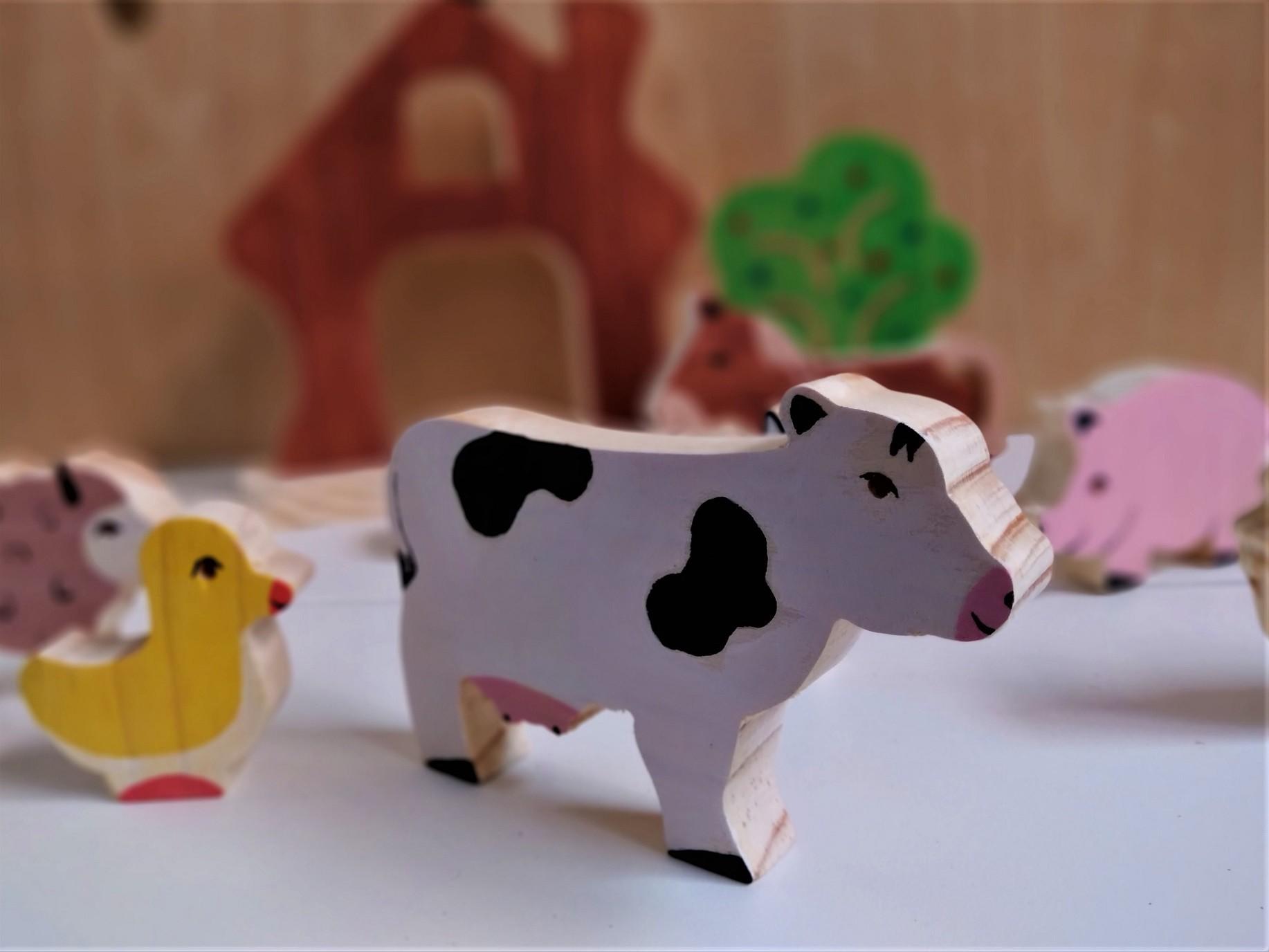 Brinquedo de madeira Kit Animais da Fazenda (pintados em um lado), da Pachu - Cód. P-13P