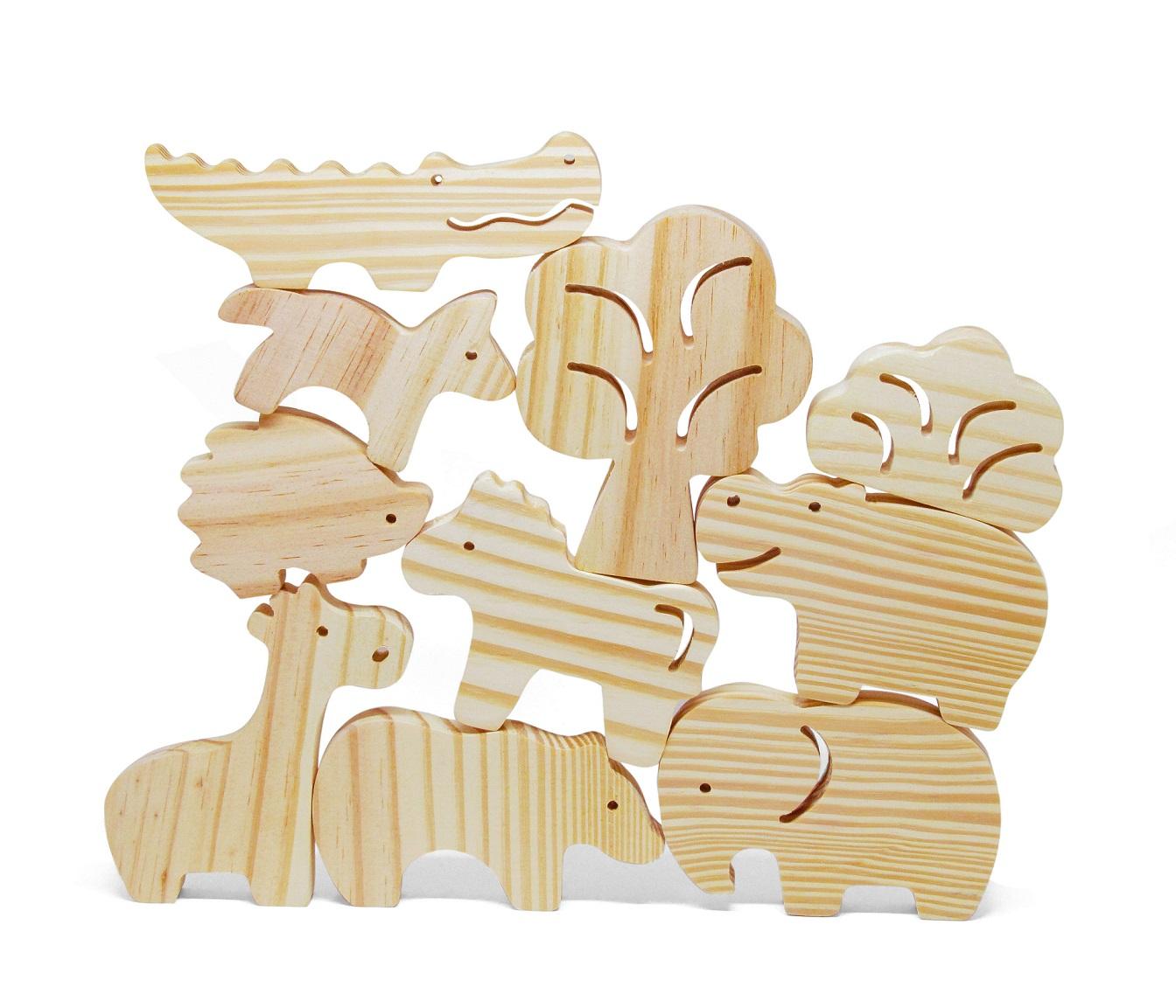 Brinquedo de madeira Kit Animais da Selva com Saquinho, da Pachu - Cód. P-07S