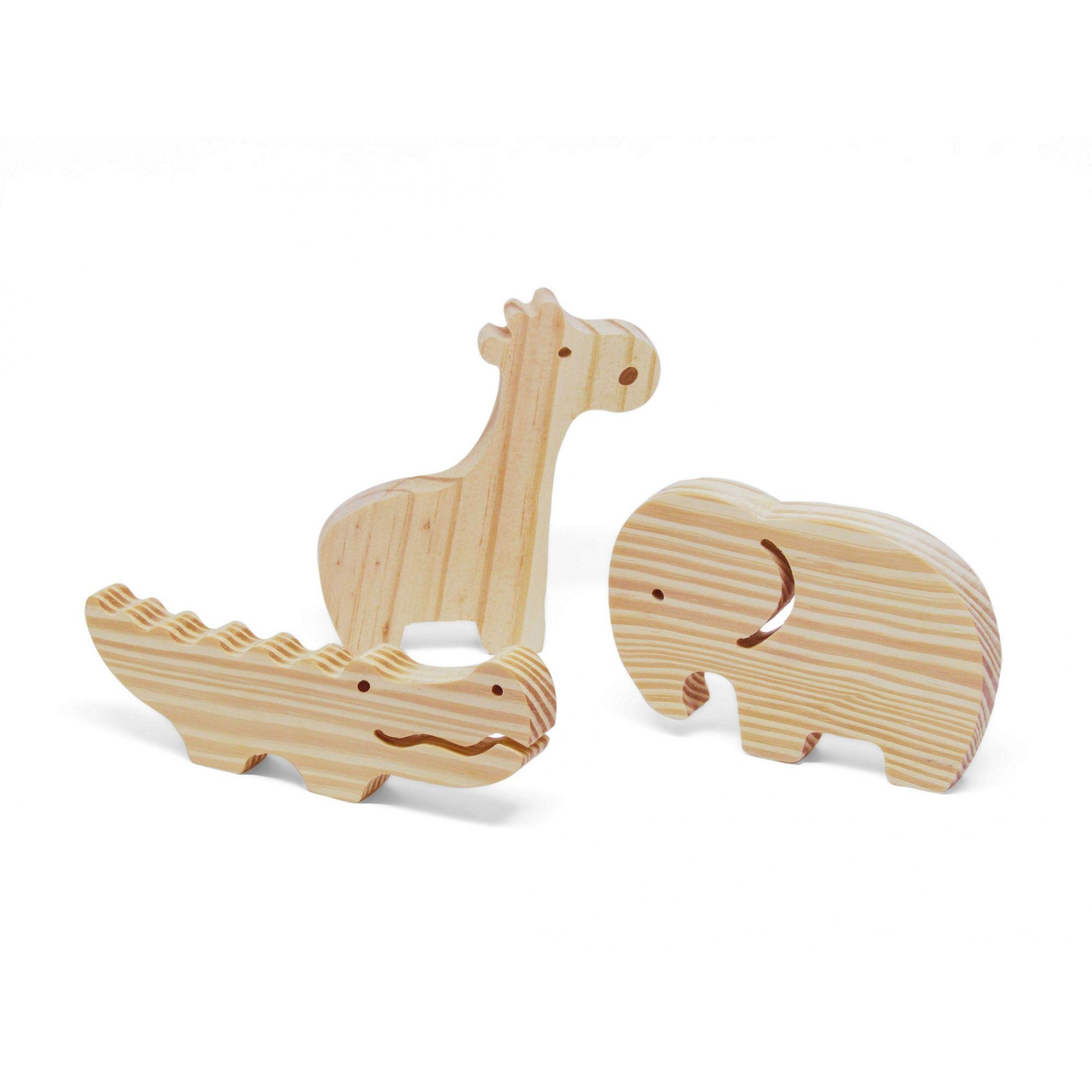 Brinquedo de madeira Kit Animais da Selva, da Pachu - Cód. P-07