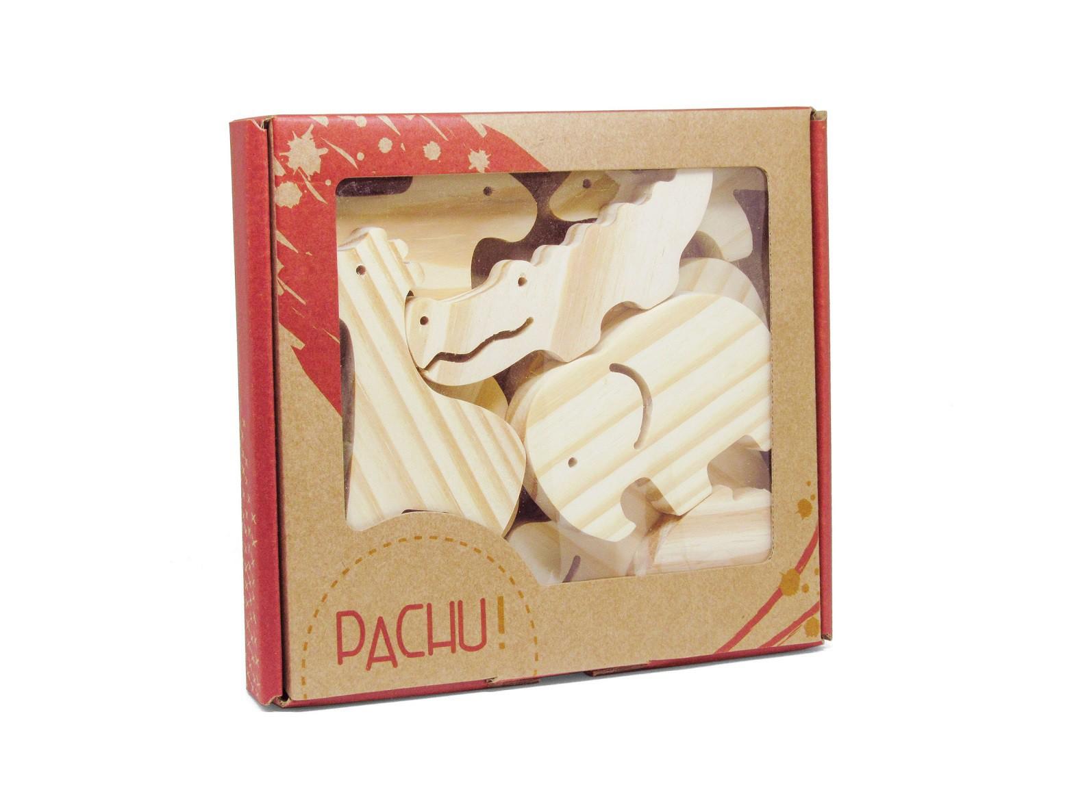 Brinquedo de madeira Kit Animais da Selva + Kit Pintura, da Pachu e Acrilex - Cód. P-07A