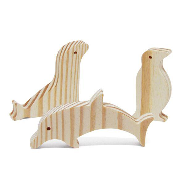 Brinquedo de madeira Kit Animais do Mar, da Pachu - Cód. P-12