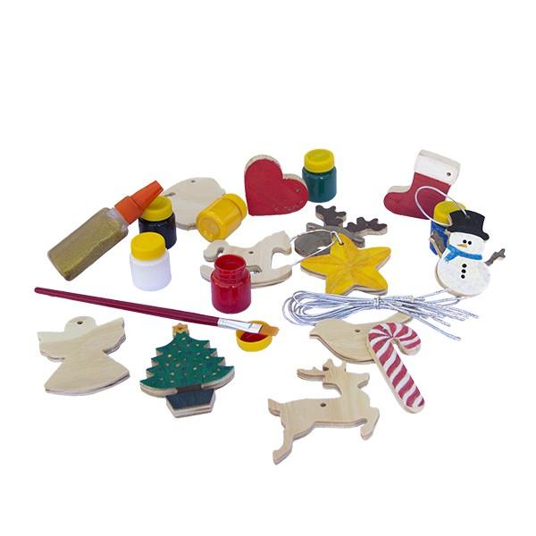 Brinquedo de madeira - Kit de enfeites de Natal para colorir e decorar a árvore, da Fábrika dos Sonhos - Cód. FS60