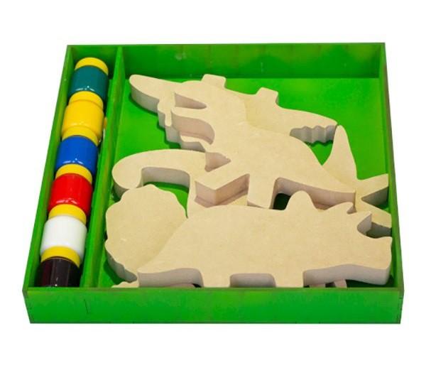 Brinquedo de madeira Kit Dinossauro para colorir, da Fábrika dos Sonhos - Cód. FS20