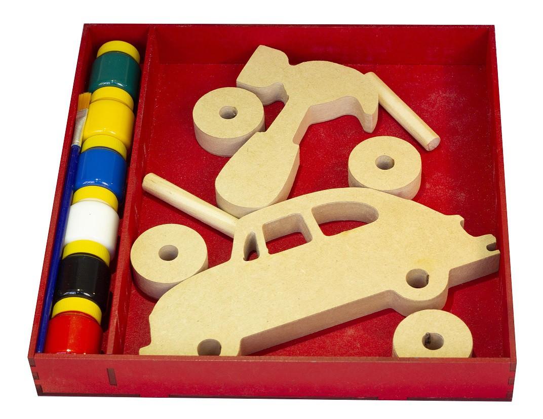 Brinquedo de madeira Kit Fusca para montar e colorir, da Fábrika dos Sonhos - Cód. FS22