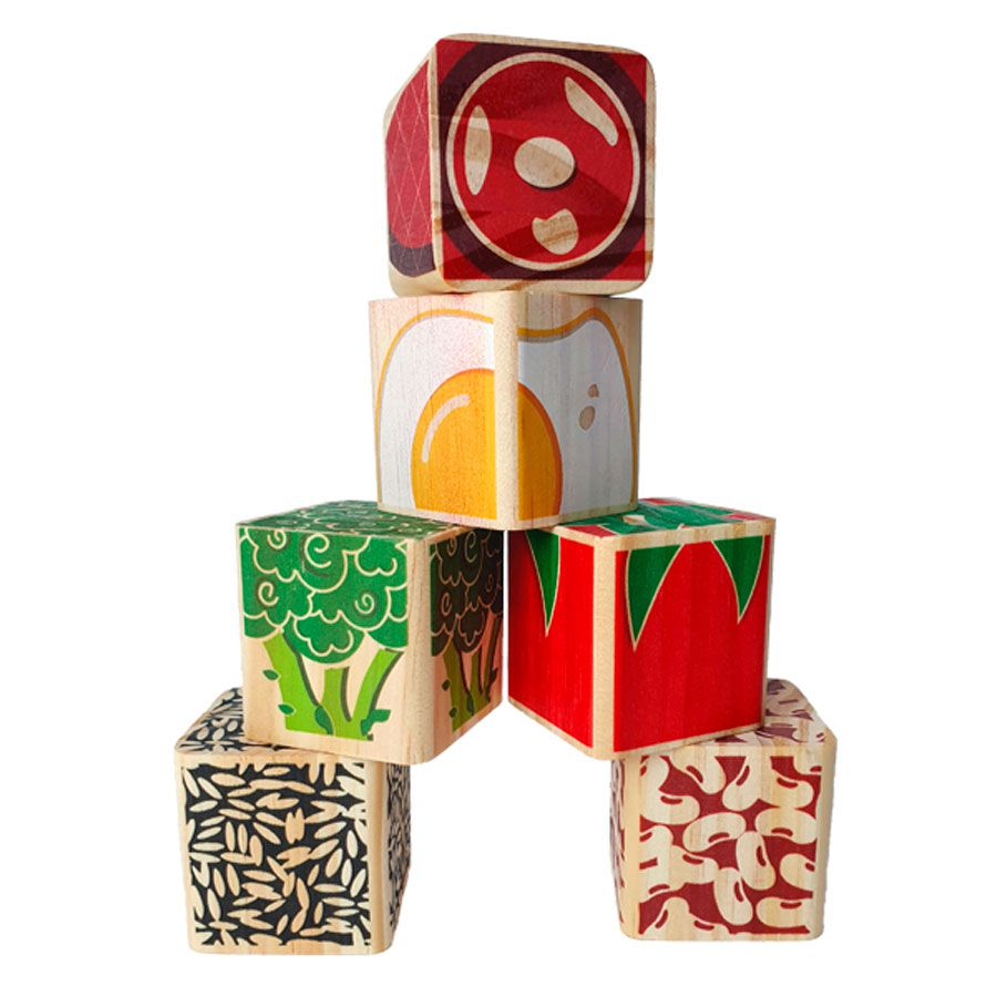 Brinquedo de madeira Kit Marmita - 6 cubos, da ULLA - Cód. U-C6F