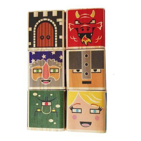 Brinquedo de madeira Kit Medieval - 6 cubos, da ULLA - Cód. U-C6M