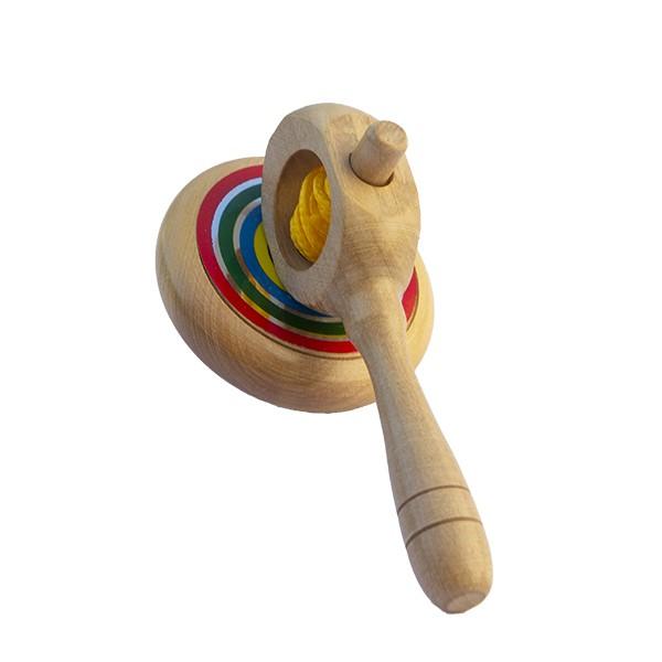 Brinquedo de madeira Pião Mágico Listrao, da Fábrika dos Sonhos - Cód. FS52