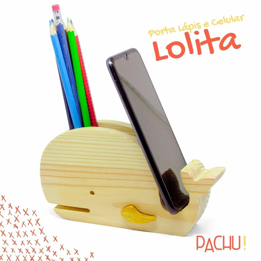 Brinquedo de madeira - Porta Lápis e Celular Baleia Lolita, da Pachu - Cód. P-05