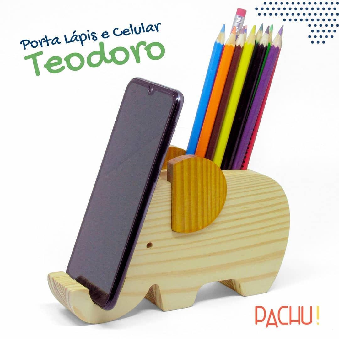 Brinquedo de madeira Porta Lápis e Celular Elefante Teodoro, da Pachu - Cód. P-06