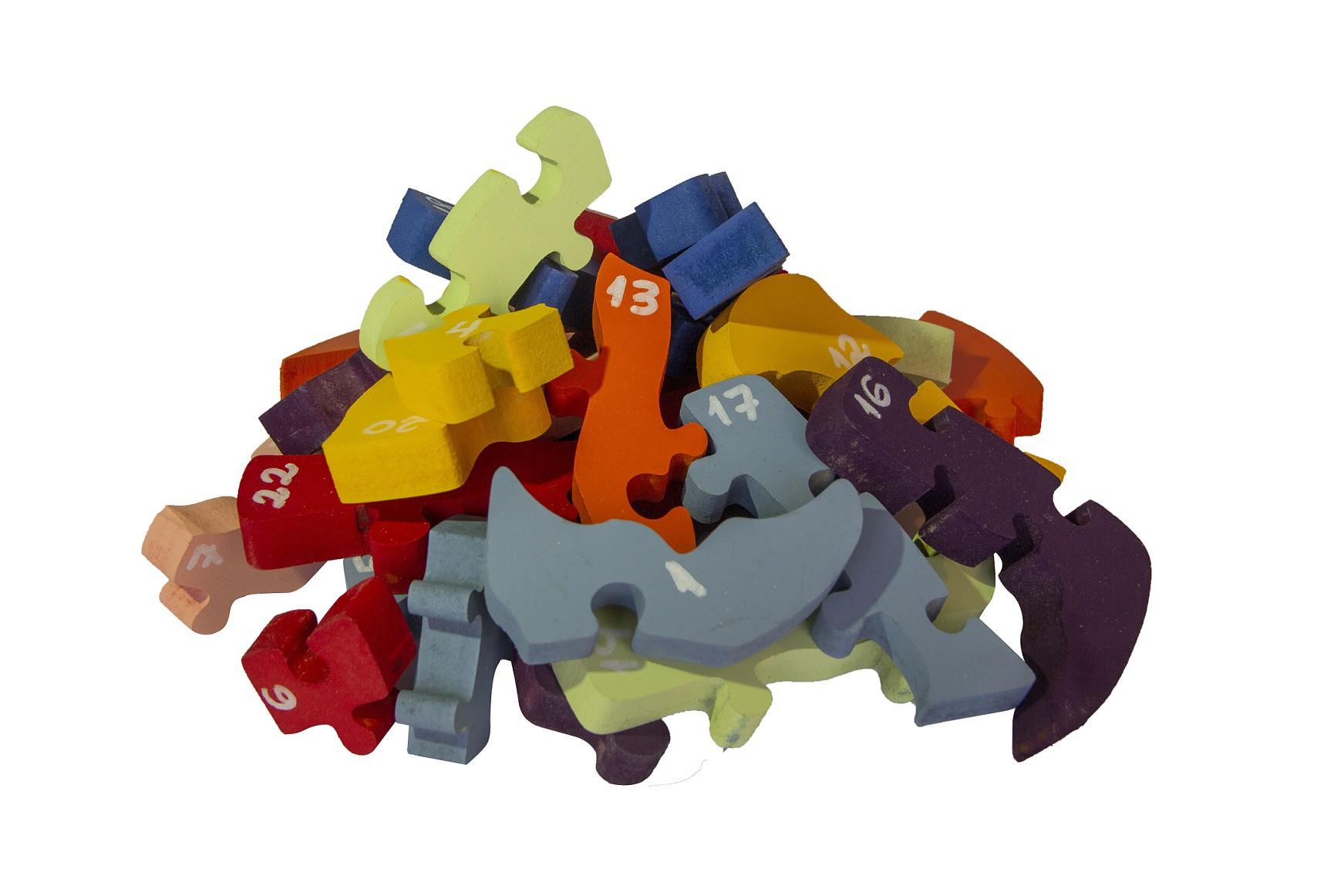 Brinquedo de madeira Quebra-cabeça com Alfabeto e Números - Baleia, da Fábrika dos Sonhos - Cód. FS12