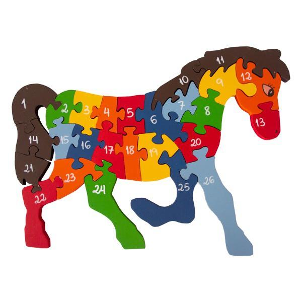 Brinquedo de madeira Quebra-cabeça com Alfabeto e Números Cavalo, da Fábrika dos Sonhos - Cód. FS10