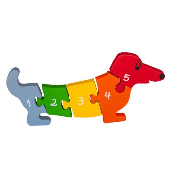 Brinquedo de madeira Quebra-cabeça com Vogais e Números - Cachorro, da Fábrika dos Sonhos - Cód. FS02