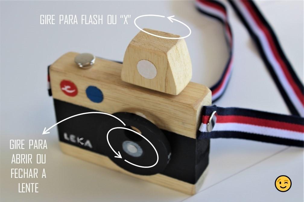 Brinquedo de madeira - Supercâmera Ultra-Analógica Leka, da Cute Cubes - Cód. CC001