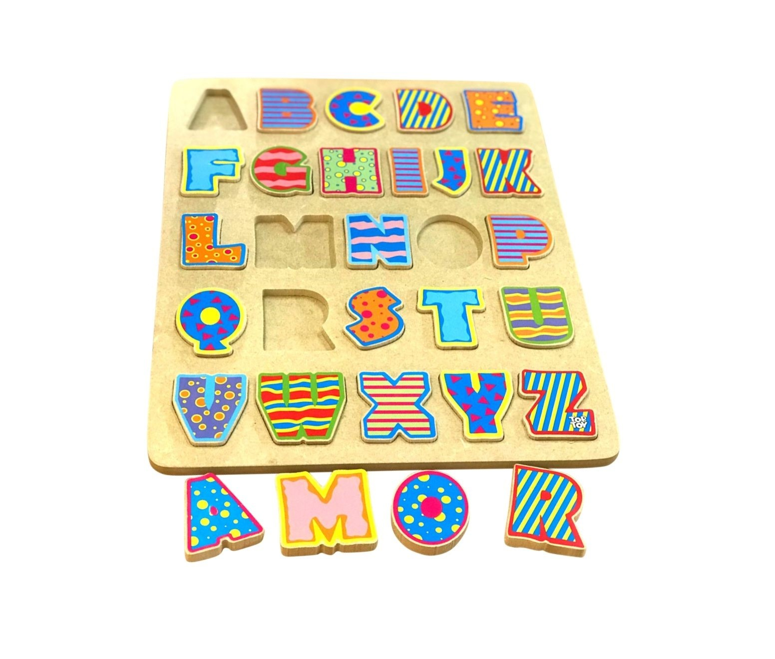 Brinquedo de madeira - Tabuleiro Letras, da Top Toy - Cód. Top-167