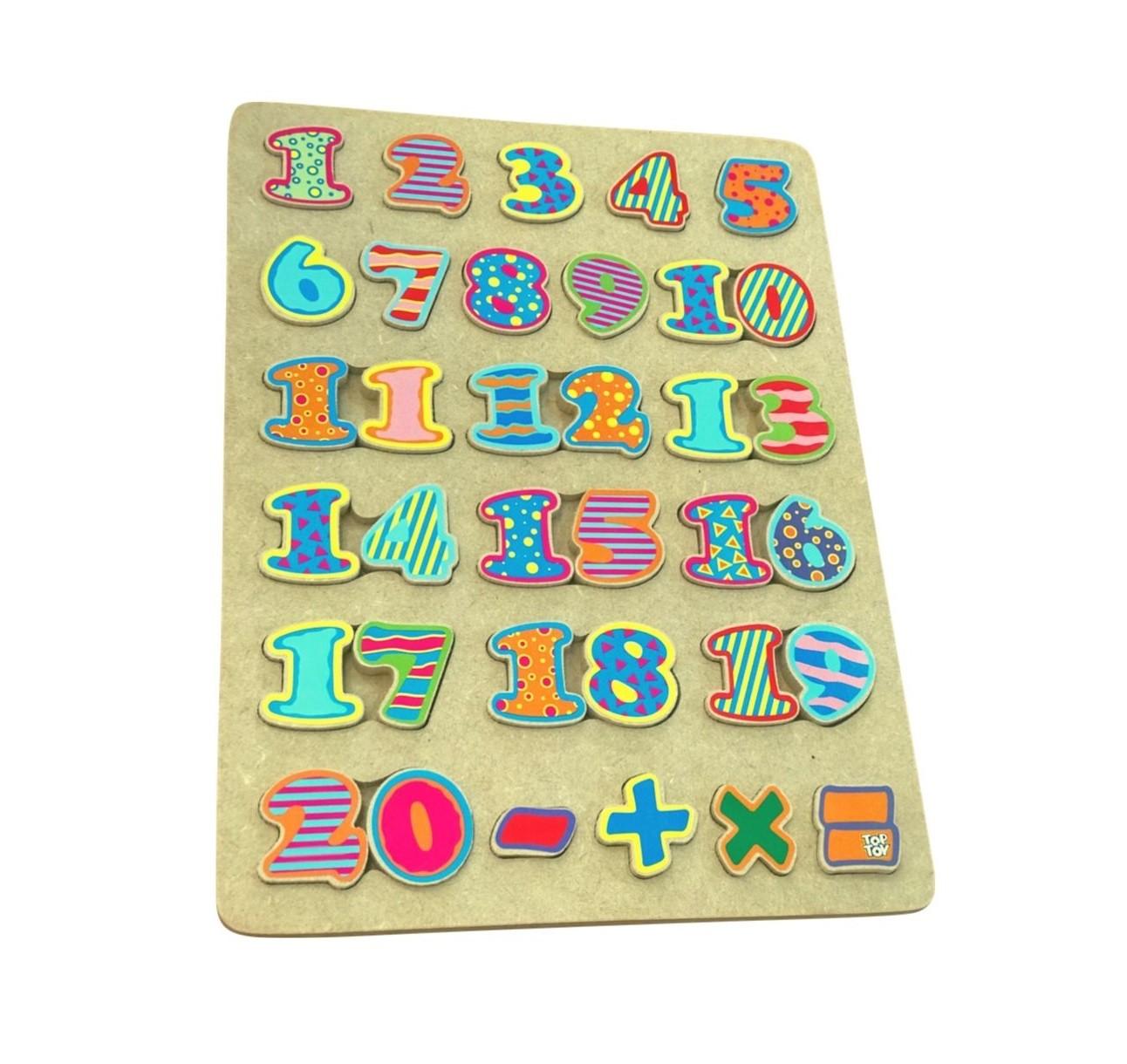 Brinquedo de madeira - Tabuleiro Números, da Top Toy - Cód. Top-168