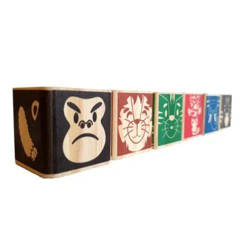 Brinquedo de madeira Kit Safári - 6 cubos, da ULLA - Cód. U-C6S