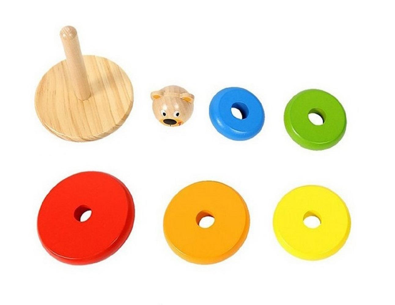 Brinquedo de Madeira Urso Bloco para Encaixe, anéis, da Tooky Toy - Cód. TKF004