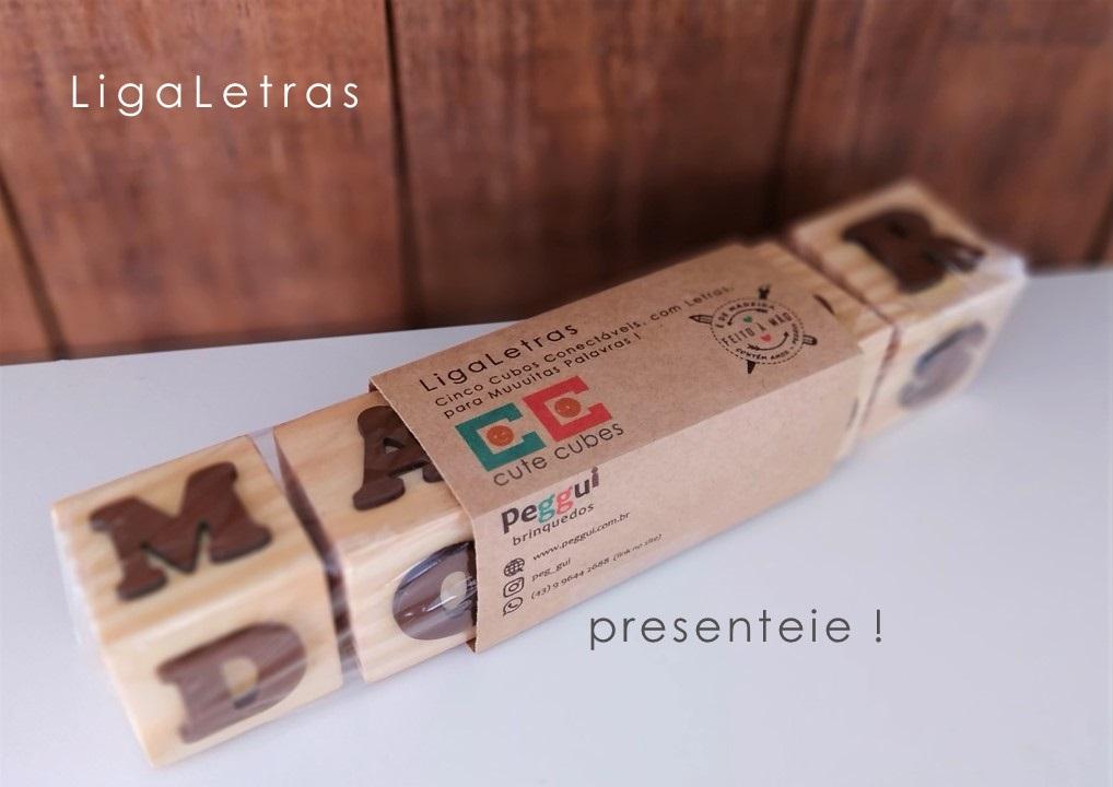 Jogo Pedagógico de Madeira - 5 Cubos LigaLetras, da Cute Cubes - Cód. CC415