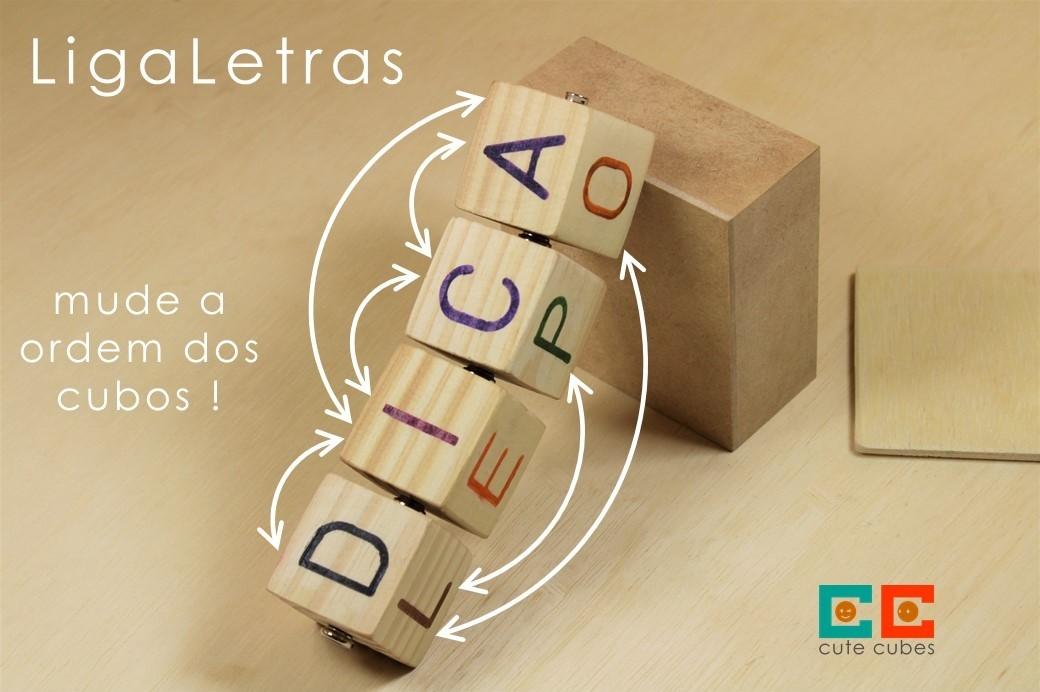 Jogo Pedagógico de Madeira - 5 Cubos LigaLetras, da Cute Cubes - Cód. CC405