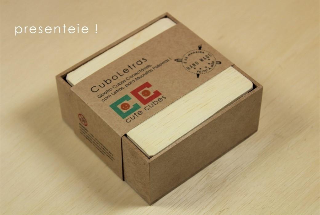Jogo Pedagógico de Madeira - 4 Cubos LigaLetras, da Cute Cubes - Cód. CC404
