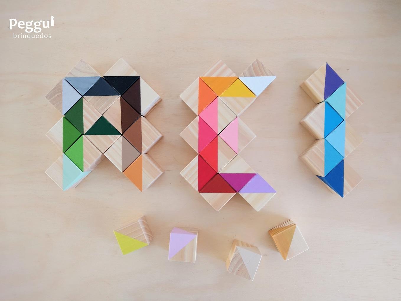 Caixa de Cores com 36 Cubos de Madeira TriTriângulos, da Cute Cubes - Cód. CC310