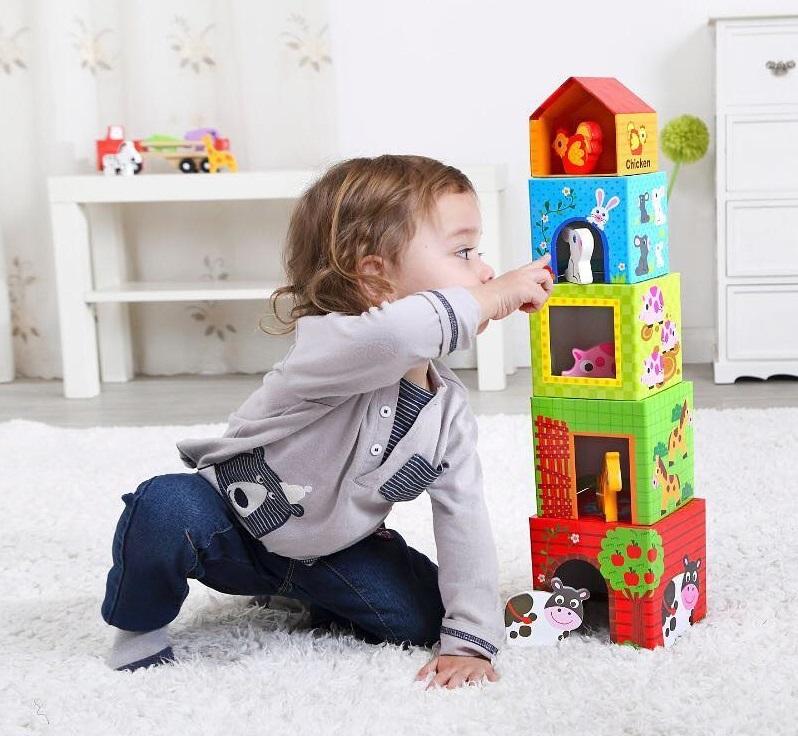 Caixas de Empilhar - Fazenda, da Tooky Toy - Cód. TKF053