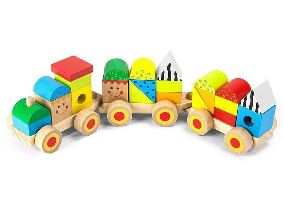 Trem de Blocos, de Madeira, da Tooky Toy - Cód. TKB383