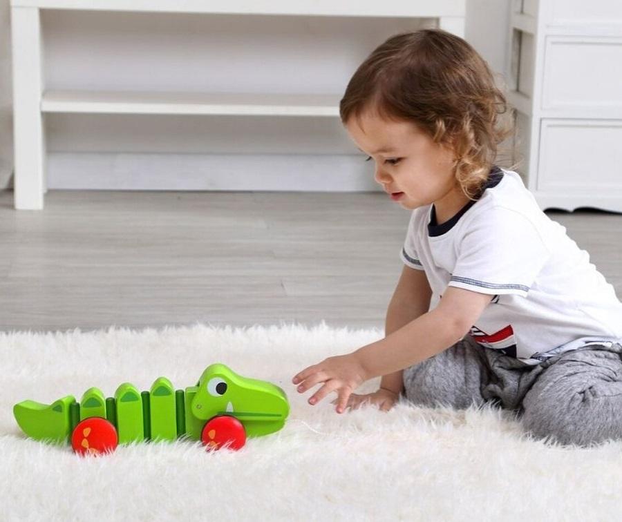Crocodilo de Puxar, de Madeira, da Tooky Toy - Cód. TKC421