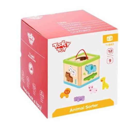 Cubo Encaixe Animais, de Madeira, da Tooky Toy - Cód. TL642