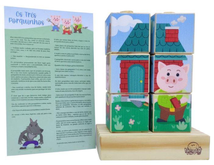 Cubos Os Três Porquinhos, de Madeira, da NewArt - Cód. 224