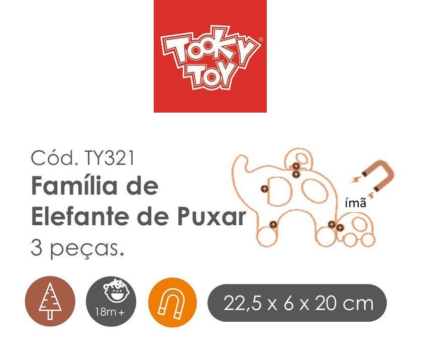 Brinquedo de madeira e magnético Família Elefante de Puxar, da Tooky Toy - Cód. TY-321