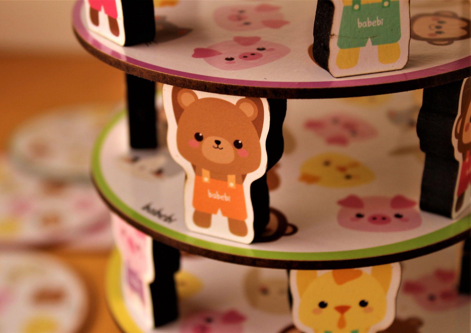 Brinquedo de madeira Empilhe os Bichinhos, da BaBeBi - Cód. 604