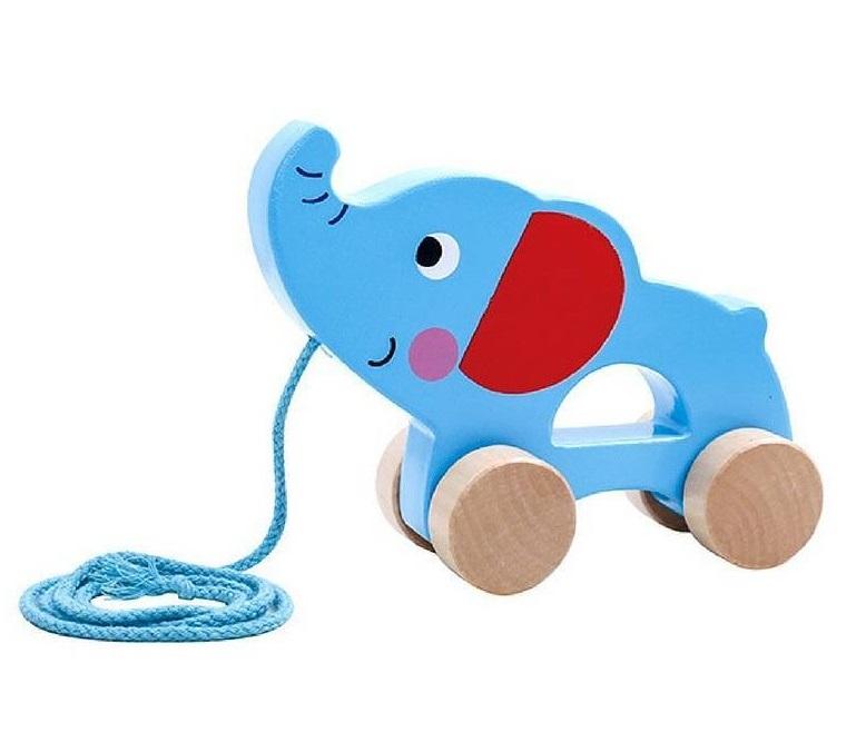 Elefante de Puxar, de Madeira, da Tooky Toy - Cód. TKC264
