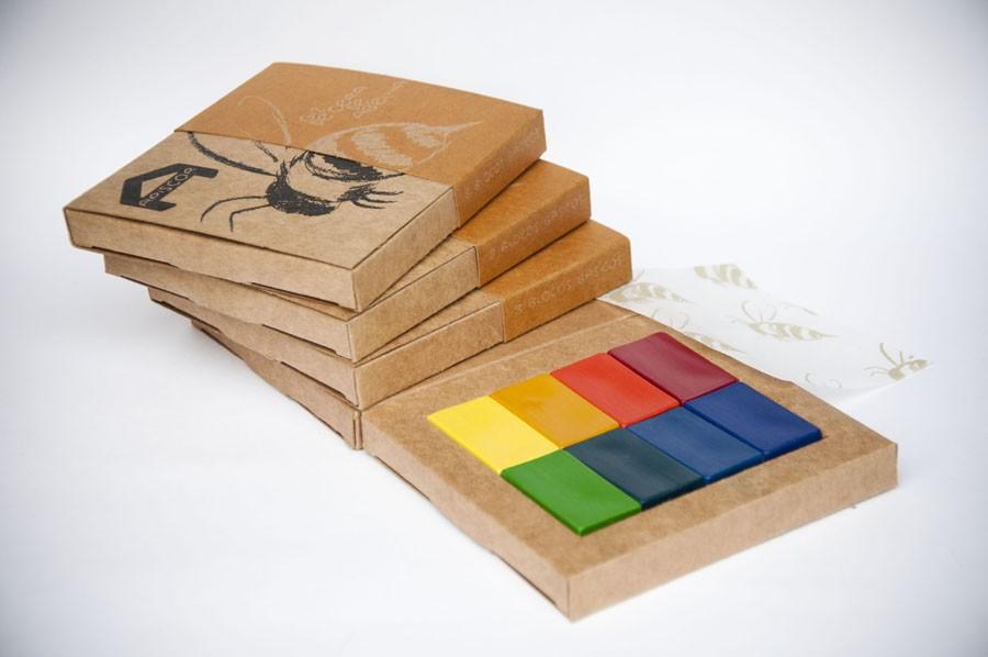 Giz de Cera de Abelha - Caixa com 8 cores (blocos), da Apiscor - Cód. AGC8B