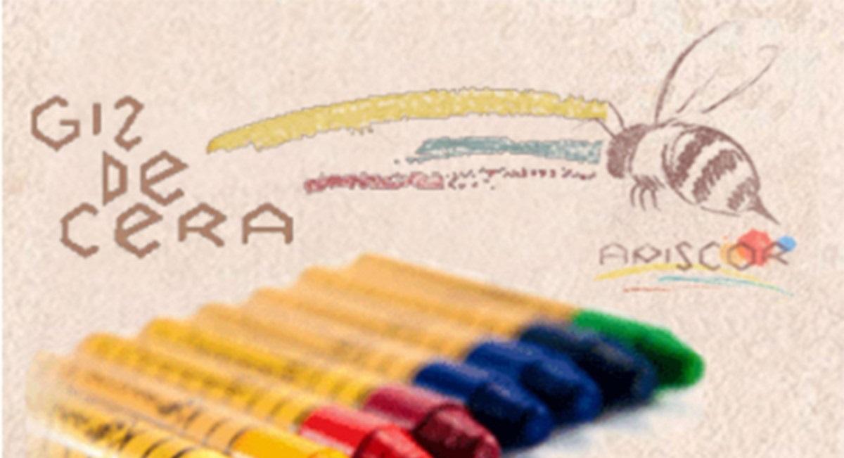 Giz de Cera de Abelha - Estojo de Bambu com 16 bastões, da Apiscor - Cód. ABB16L