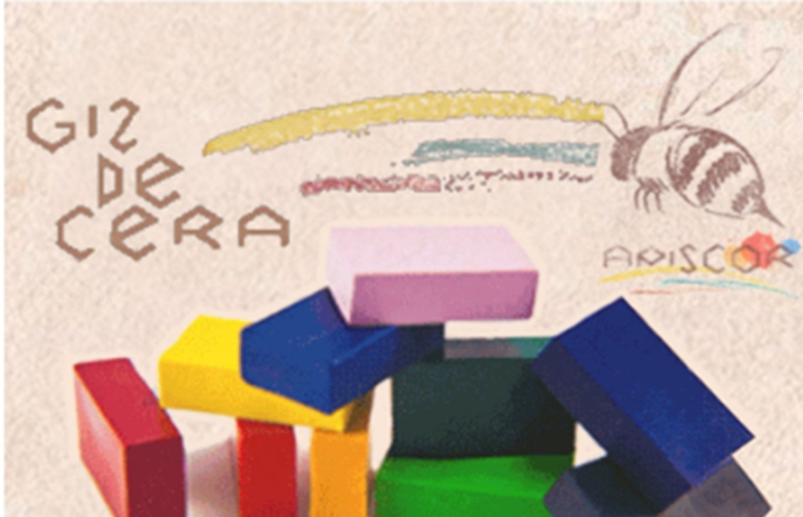 Giz de Cera de Abelha - Estojo de Bambu com 16 blocos, da Apiscor - Cód. ABB16B