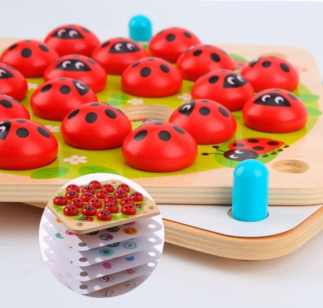 Jogo da Memória - Joaninhas, de Madeira, da Tooky Toy - Cód. TY170A