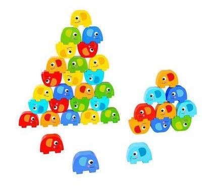 Jogo de Empilhar Elefantes, de Madeira, da Tooky Toy - Cód. TKF070A
