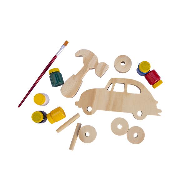 Kit Fusca de madeira para montar e colorir, da Fábrika dos Sonhos - Cód. FS22