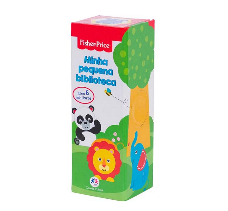 Kit Minha Pequena Biblioteca + Carrinho de Madeira Elefante, da Fisher Price - Cód. BR984 + LP002
