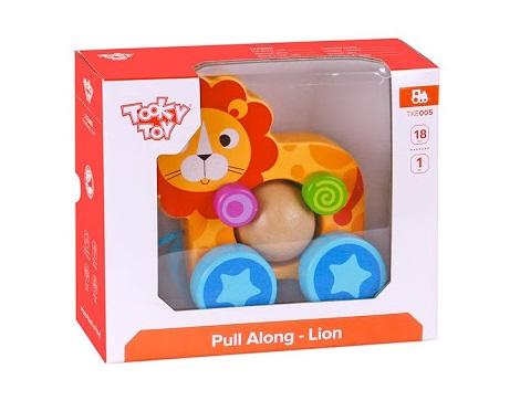 Leão de Puxar, de Madeira, da Tooky Toy - Cód. TKE005