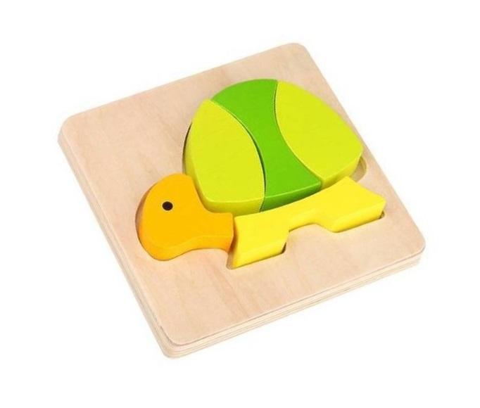 Mini Brinquedo de Madeira, de Encaixe - Tartaruga, da Tooky Toy - Cód. TKG014