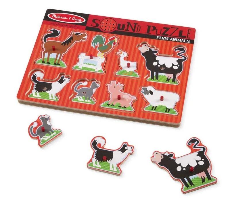 Quebra-Cabeça de Encaixe e Sonoro - Animais da Fazenda, da Melissa And Doug - Cód. 10726