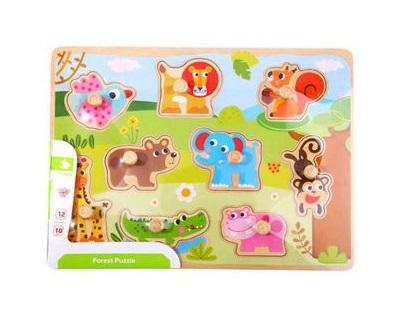 Quebra-Cabeça de Encaixe Floresta com Pinos, da Tooky Toy - Cód. TY857