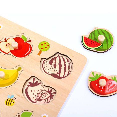 Quebra-Cabeça de Encaixe Frutas com Pinos, da Tooky Toy - Cód. TY854