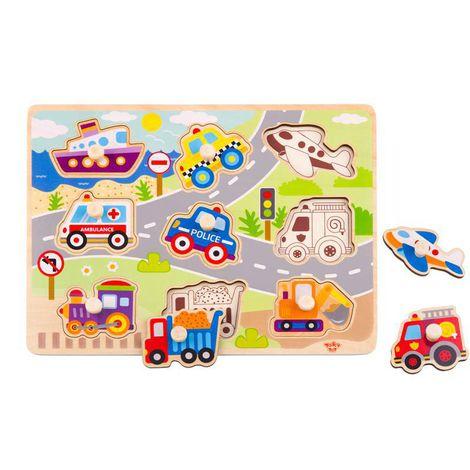 Quebra-Cabeça de Encaixe Veículos com Pinos, da Tooky Toy - Cód. TY860