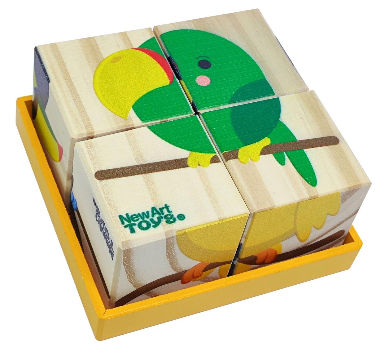 Quebra-Cabeça de Madeira - Cubos Aves, da NewArt - Cód. 192