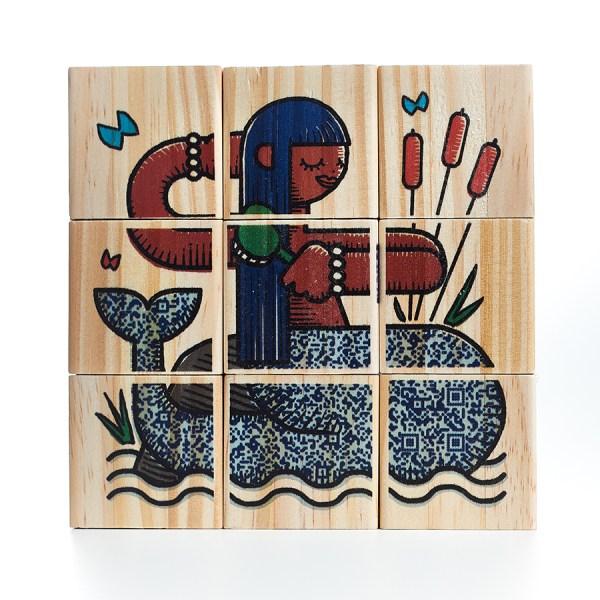 Quebra-Cabeça de madeira Kit Folclore - 9 cubos, da ULLA - Cód. U-C9F