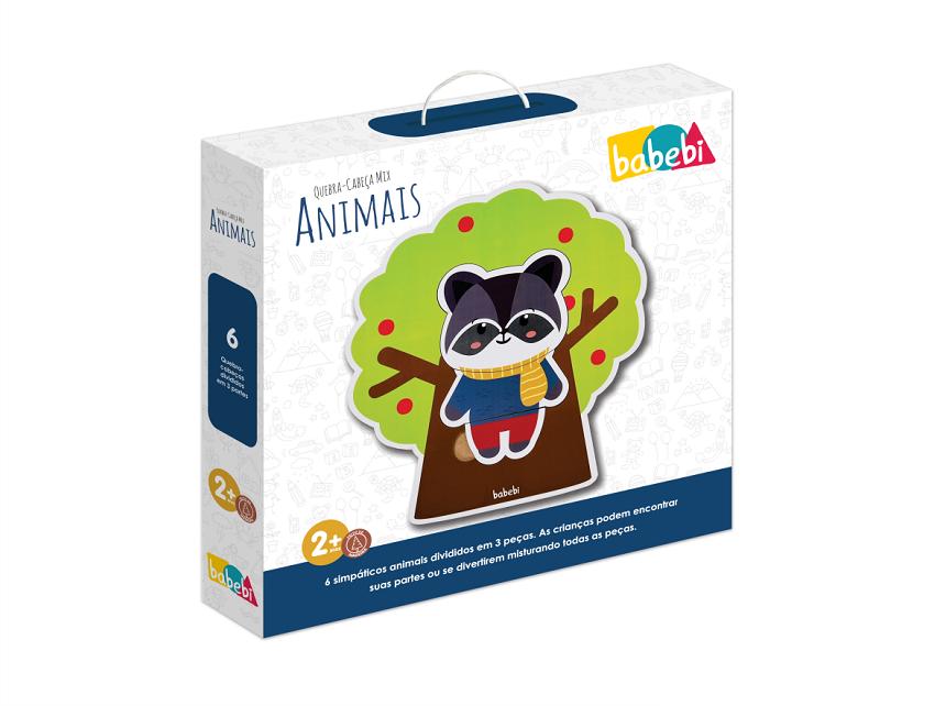 Quebra-Cabeça Mix Animais, da BaBeBi - Cód. 6004